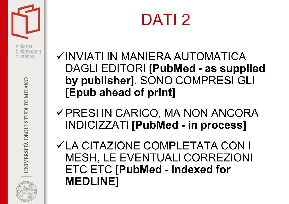DATI 2 Inviati in maniera automatica dagli editori [PubMed - as supplied by publisher]. Sono compresi gli [Epub ahead of print]